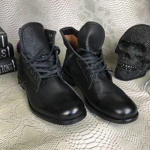 Frye short black leather boots